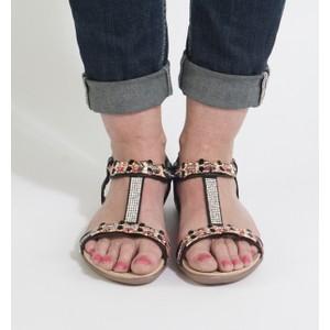 Libra Pop Black Diamante Detail Sandals