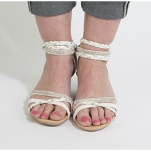 Libra Pop Grey Strap Diamante Wedge Sandal