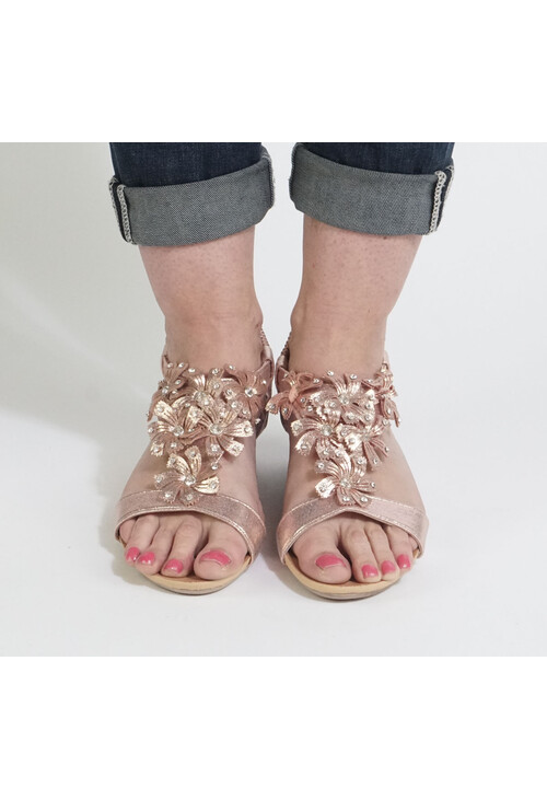 Libra Pop Champagne Flower Detail Sandals