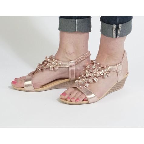 Libra Pop Champagne Flower Detail Sandals