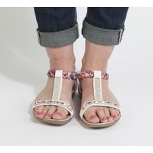 Libra Pop White Diamante Detail Sandals