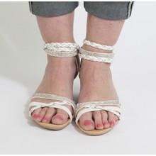 Libra Pop White & Silver Diamante Wedge Sandal
