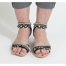 Libra Pop Black & Silver Diamante Detail Wedge Sandal
