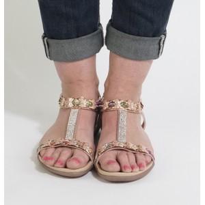 Libra Pop Champagne Glitter Diamante Detail Sandals