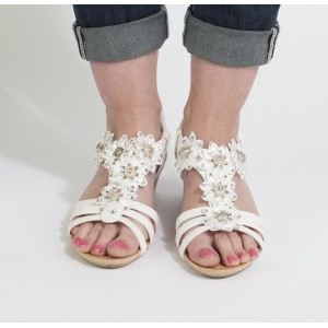 Libra Pop White Floral Detail Strap Sandals