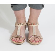 Libra Pop Beige Diamante Wedge Sandal