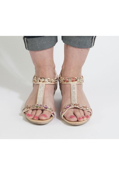 Pamela Scott Beige Diamante Wedge Sandal
