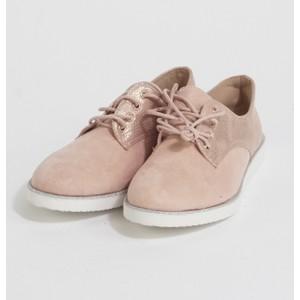JM Diamant Pink Metallic Lace Up Shoes