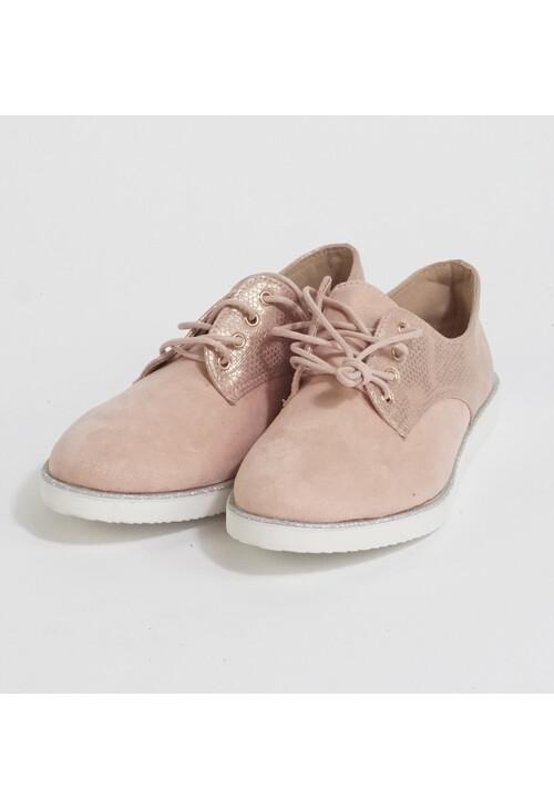 Pamela Scott Pink Metallic Lace Up Shoes