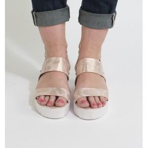 Pamela Scott White & Champagne Metallic Wedge Sandals