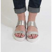 Pamela Scott White & Silver Metallic Wedge Sandals