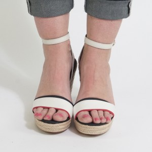 05b33f1b9ac1 Tommy Hilfiger Navy   Cream High Wedge Sandals