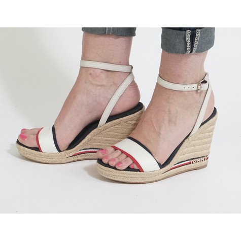 Tommy Hilfiger Navy & Cream High Wedge Sandals