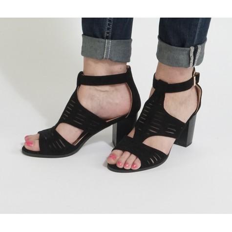 Pamela Scott Black Cage High Heel Shoe