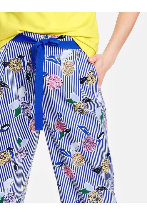 Gerry Weber Ecru / White / Blue Multicolor Pattern Mix Culotte