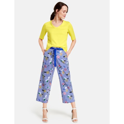 Gerry Weber Ecru / White / Blue Multicolor Pattern Mix Culotte
