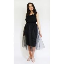 Pamela Scott Black Elastic Waist Tulle Skirt