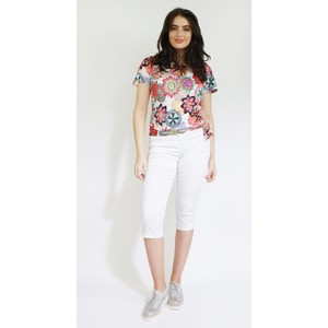 SophieB Red, Green & White Colourful Floral Print Top