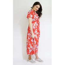 Zapara Red Floral Print Long Button Dress