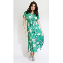 Zapara Green Floral Print Long Button Dress