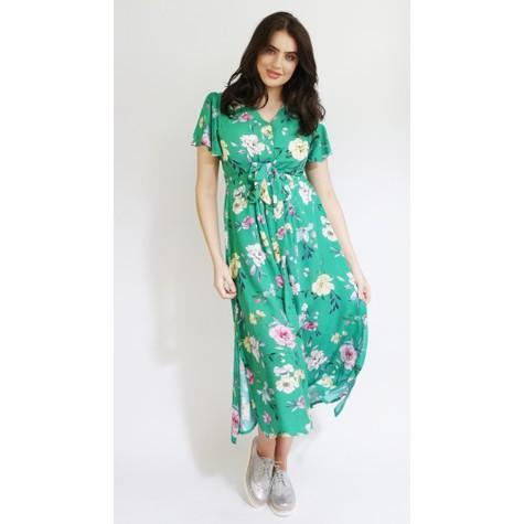 Zapara Green Floral Print Long Button Dress