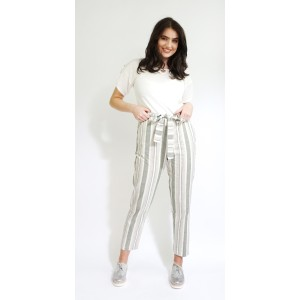 SophieB Khaki Stripe Belt Detail Loose Trousers