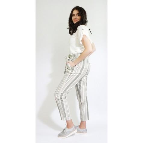 SophieB Khaki Stripe Belt Detail Loose Trousers