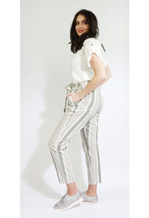 Sophie B Khaki Stripe Belt Detail Loose Trousers