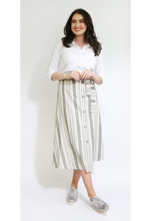 Sophie B Khaki Stripe Button Detail Skirt