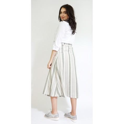 SophieB Khaki Stripe Button Detail Skirt