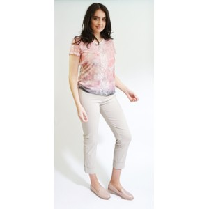 SophieB Off White Rose Floral Print Mesh Sleeve Top