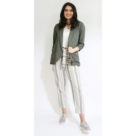 SophieB Khaki Ruffle Sleeve Open Jacket