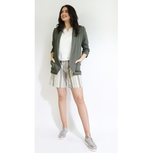 SophieB Khaki Stripe Belt Shorts