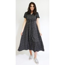 Zapara Black & White Pattern Long Button Dress