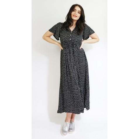 Zapara Black & White Pattern Long Button Dress