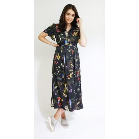 Zapara Black Multi Floral Print V-Neck Dress