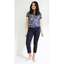 Twist Rose & Blue Floral Pattern Print Top