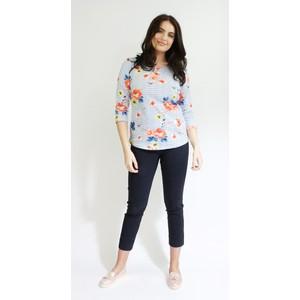 Twist Blue & White fine Strip Floral Print Top
