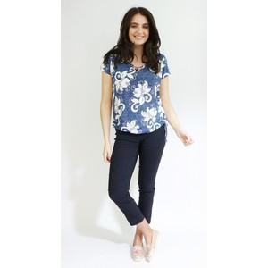 SophieB Blue Jeans Mix Round Neck Top