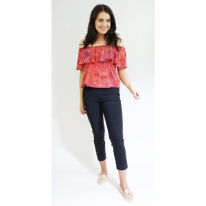 Zapara Red & White Pattern Bardot Style Top