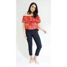 Zapara Red & Yellow Floral Pattern Bardot Style Top