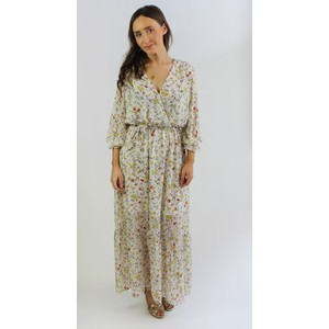 Kilky Paris Beige Floral Design Long Dress