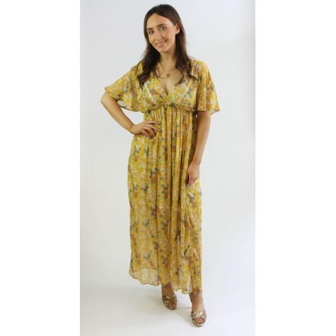 Kilky Paris Jaune Floral Pattern Print Long Dress