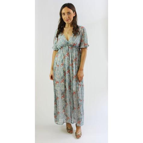 Kilky Paris Aqua Floral Pattern Print Long Dress