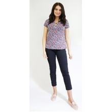 Twist Blue & Red Dark Denim Pattern Top