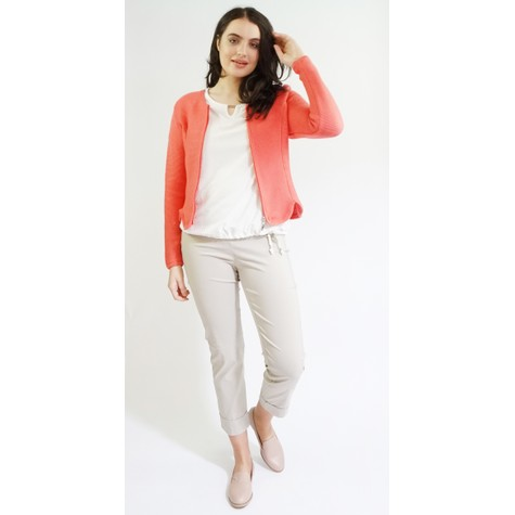 Twist Coral Zip Up Rib Knit