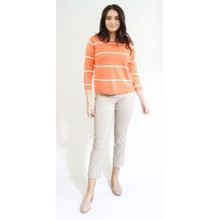 Twist Coral Off White Stripe Top