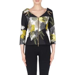 Joseph Ribkoff Black & Yellow Floral Print Top