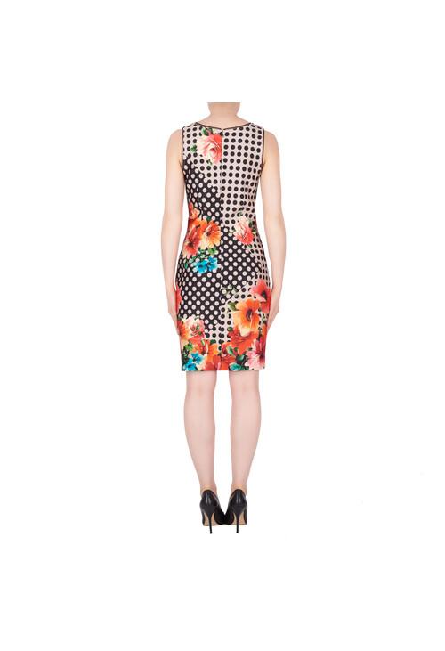 Joseph Ribkoff Black & Beige Polka Pattern Classic Dress