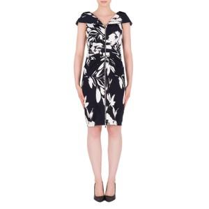 Joseph Ribkoff Black & White Floral Print Classic Dress